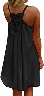 839614772b5 kenoce Femmes Mini Robe d été Fluide sans Manches Grande Taille Casual  T-Shirt