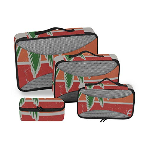 Travel Organizer For Women Miami Beach Florida Tee Palm Travel Packs Organizer Pack Storage Cubes 4 Piece Suitcase Organizer Lightweight Luggage Storage Bag