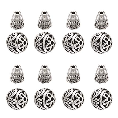 Craftdady 10Sets Tibetan Silver Guru Beads 3-Ways Buddha Mala Prayer Beads Cap for Necklace Jewelry Making