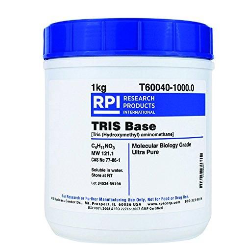 RPI TRIS Base Ultra Pure Powder, 1 Kilogram, Molecular Biology Grade, Buffer Component, [Tris (Hydroxymethyl) Aminomethane]