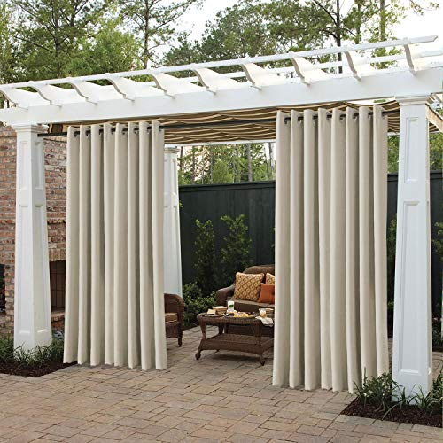 """cololeaf Outdoor Curtains for Patio Waterproof Grommet Top Thermal Insulated Blackout Outdoor Curtain Drape for Porch, Gazebo, Pergola, Cabana - Beige 52"""" Wx84 L Inch (1 Panel)"""