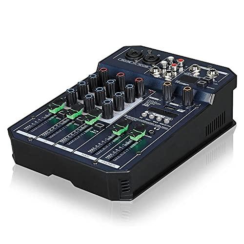 WanuigH Audio-mixer Mini 4-kanaals mono + 1 stereo uitvoer USB 16 DSP-effect audiomischer met Bluetooth eenvoudige…