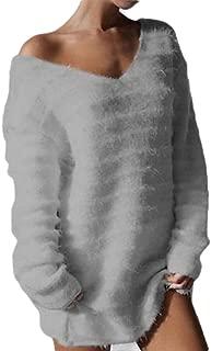 Women Plus-Size Solid Top Tee Fleece V-Neck Sweater