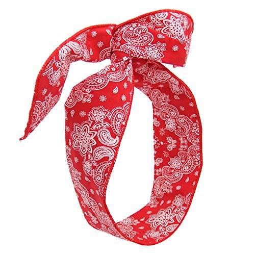 19 – 702 – Bandeau pour cheveux cm 5 tissu coton cachemire avec intérieur en métal souple – longueur cm 80 – Bandeaux pour Cheveux rouge