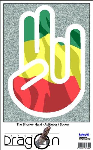 THE SHOCKER HAND - AUFKLEBER / AUTOAUFKLEBER - Decal Sticker 15cm außenklebend - weißer Umriss mit Fahne / Flagge - Ethiopia-Äthiopien