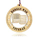Jolette Designs Korean War Veteran Gifts - USA-Made, Natural Wood Military Gift Ornament for US Korea War Veterans - Patriotic American US Flag Decorations Ornaments for Car Mirror and Christmas Tree