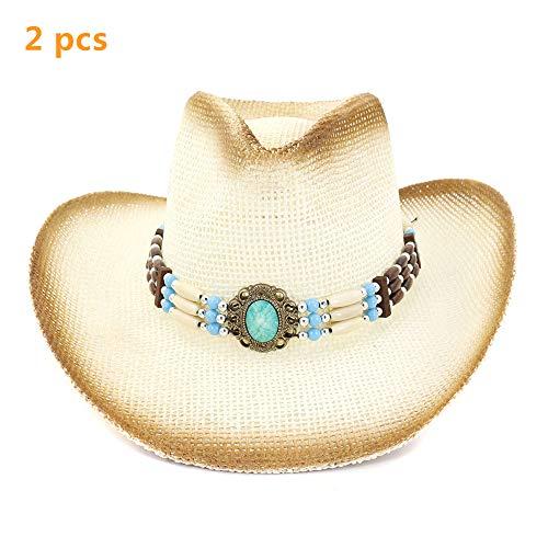 WYYHAA Sun Straw Hat, Wide Brim Cowboy Hat for Women/Men, UPF 50 Summer Hat Foldable Roll Up Floppy Beach Hats,C