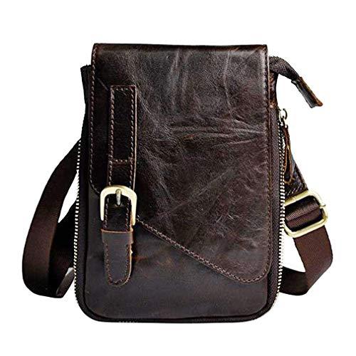 Bolso de hombro de piel para hombres y mujeres con gancho para cinturón de cintura riñonera, Marrón (#01marrón), Small
