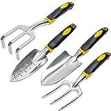 longwey ergonómico herramienta de jardín 3/4/5piezas Set, utensilios de jardín Kit con cabezales de aluminio fundido de alta resistencia mangos ergonómicos