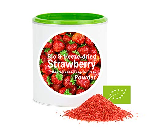 Fraise en poudre - Lyophilisées|biologique|végan|crue|pure fruits|sans additives|riches en vitamins|Good Nutritions 120g