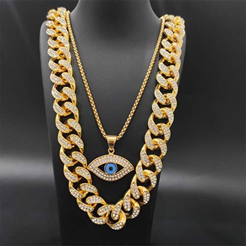 MTRESBRALTS - Reloj para hombre Hip Hop GLACÉ Cubano reloj de collar, pulsera, anillo y pendientes, conjunto de colgante de juego de joyas para hombre, color rosa