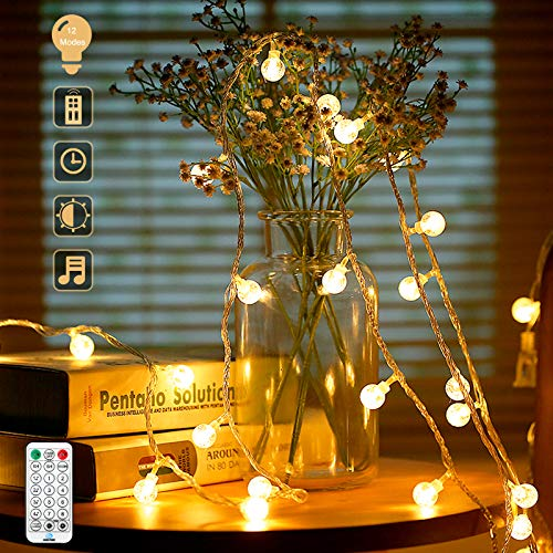 Globe String Lights Fairy Lights, 15M 100 LED Waterproof Christmas Lights with Remote 4 Music Modes 8 Lighting Modes Plug in Indoor/Outdoor Fairy Lights for Christmas Party Wedding Bedroom Warm White