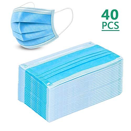 40 Pezzi Maschere monouso con occhielli bianchi/blu, mascherine protettiveMas-che-rine 3 strati di maschera antipolvere