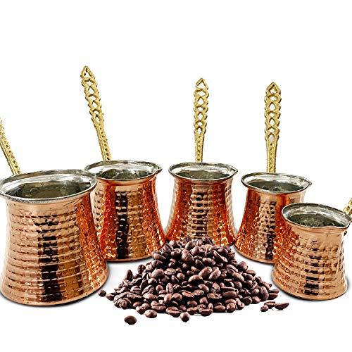 5 x Cezve Mokkakanne Kupfer verschiedene Größen, Set Mokka Kanne 150-450ml