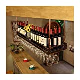 Wine Rack Industrial Metal montado en la Pared Loft Forjado Retro Iron Wine Rack Bar Craft Hanging Holder Wine Goblet Rack para restaurantes, Bares, hogar Diario Altura Ajustable 30~60cm