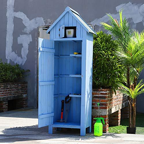 The Fellie Garden Tool Storage Shed Garden Wooden Cabinet 3 Shelves Outdoor Shed, L65cm x D45cm x H179cm Blue