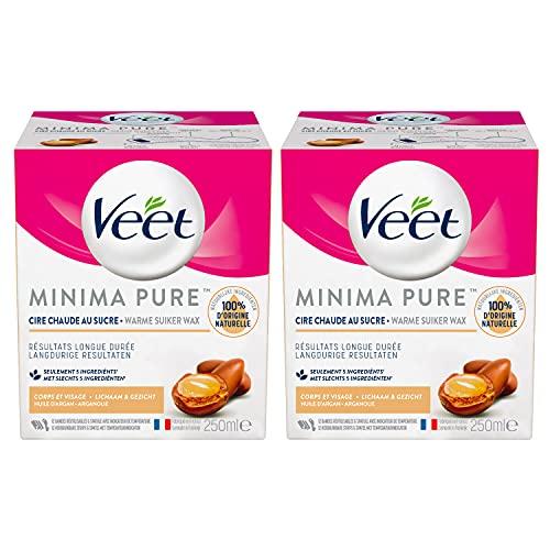 Veet Cire au Sucre Minima - 100% d'Ingrédients d'Origine Naturelle pour une Douceur Longue Durée - Huile d'Argan (Lot de 2)