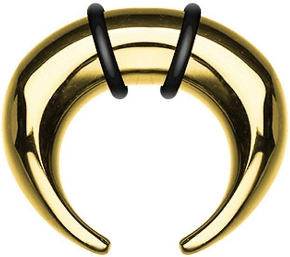 Covet Jewelry Gold Plated Pincher Steel Ear Gauge Buffalo Taper