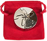 Spiral Hanayama Brain Teaser Puzzle, Level 5 Difficulty Rating, RED Velveteen Drawstring Pouch, Bundled Items