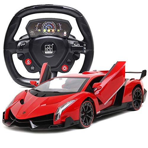 BSQS1 Electric High Speed Remote Control Car Electric RC Car-Veneno Radio Remote Control Vehicle Sport Racing Hobby Grade Licensed Model Car 1:24 Scale for Kids Adults Grey