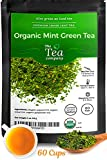 Organic Mint Green Tea - 60 Cups of Refreshing Mint Tea with Spearmint and Peppermint for Bloating Organic Loose Leaf Moroccan by The Tea Company 4oz