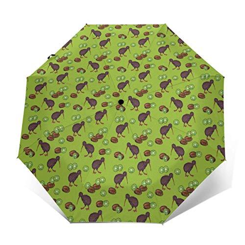 Leichter, kompakter Reise-Regenschirm, 95 % UV-Schutz, Kiwi-Vögel und Kiwi-Früchte, Golf-Regenschirm, wasserabweisender Sonnenschirm für Business, Reisen oder Sommer-Hochzeitsgeschenke