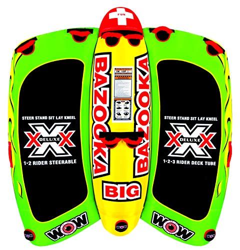 Wow World of Watersports 13-1010, Big Bazooka 1 to 4 Person, Inflatable Towable Deck Tube, Steerable