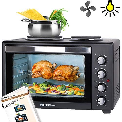 TZS First Austria - 45 Liter 3200 Watt Mini-Backofen mit Kochplatten und Krümelblech| Drehspieß und Umluft Mini Pizzaofen | Mini-Küche | Kochplatten separat bedienbar | gleichzeitig kochen und backen