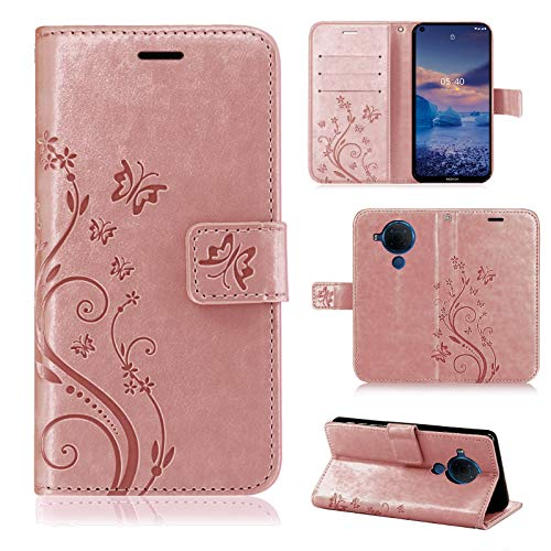 betterfon Nokia 5.4 Hülle - Handyhülle Nokia 5.4 Schutzhülle Klapphülle mit Kartenfächer für Nokia 5.4 Blume Rosegold