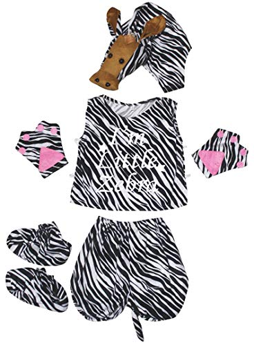 Petitebelle Little Animal Hat Camisa Cola Pantalones Zapatos 5pc Disfraz 4-8Y (Little Zebra, 4-5year)