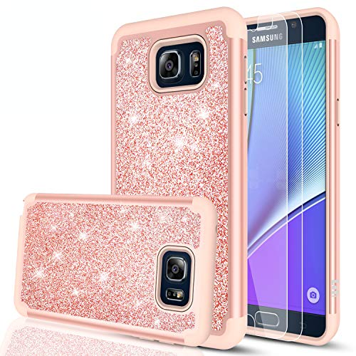 LeYi Compatible with Galaxy Note 5 Case with Glass Screen Protector [2 Pack], Glitter Bling Cute Girls Women [PC Silicone Leather] Dual Layer Heavy Duty Case for Samsung Galaxy Note 5 TP Rose Gold