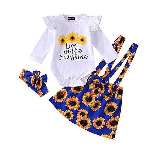 Teblacker Toddler Girls Christmas Clothes Sets Printed Romper Ruffle Skirt Short Leggings Headband