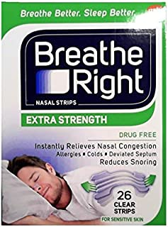 Breathe Right Extra Strength Nose Strips to Reduce Snoring and Relieve Nose Congestion, Drug-Free, Pack of 26 Clear Nasal Strips for Sensitive Skin
