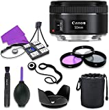 Canon EF 50mm f/1.8 STM Lens for Canon Digital SLR Cameras with 49mm Filter Kit (UV, CPL, FLD) + Accessory Bundle (12 Items) Import
