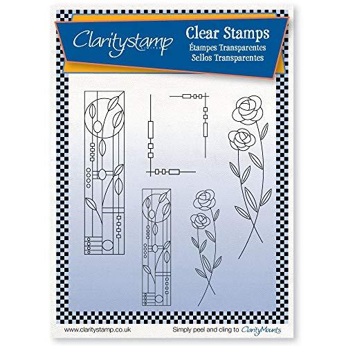 Clarity Stamps Stempel-Set für Jugendstil, Blumenmuster, unmontiert, transparent