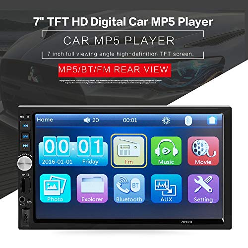 Double Din Car Stereo, 7 inch Touch Screen Car Radio Compatible with BT TF USB MP5/4/3 Player FM, Hands-Free Calls, Rear View Camera for Auto