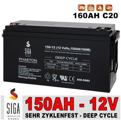 Solarakku 150Ah 12V AGM GEL Batterie Solarbatterie Wohnmobil Versorgungsbatterie extrem zyklenfest
