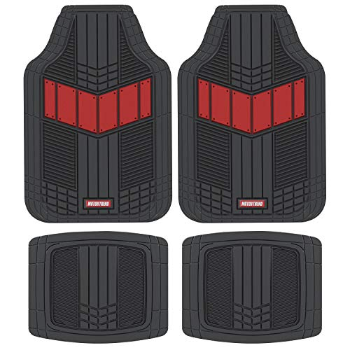 Motor Trend MTX101 Red DualFlex All-Weather Rubber Floor Mats for Car, Truck, Van & SUV – Waterproof Front & Rear Liners with Drainage Channels & Two-Tone Sport Design