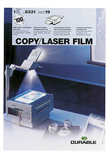 Durable 833119 Kopierfolie Copy/Laser Film, Laserdrucker/Kopierer, A4 100 My, 100 Stück