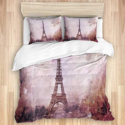 YnimioHOB Juego de Funda nórdica de 3 Piezas, Torre Eiffel Abstracta en París, Juegos de Fundas de edredón de Microfibra de Lujo para Dormitorio, Colcha con Cremallera con 2 Fundas de Almohada