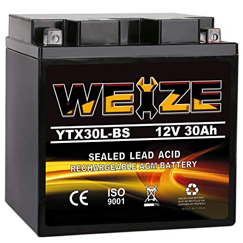 Weize YTX30L-BS Battery Replacement Yuasa YIX30L Motorcycle Battery - Factory Sealed - Maintenance Free - High Performance ETX30L BS For Harley Davidson Polaris Sportsman