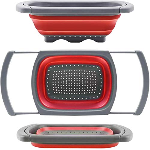 DLD Colander Collapsible, Colander Strainer Over The Sink Veggies/Fruit Strainers and Colanders with Extendable Handles, Folding Strainer for Kitchen, 6-Quart, BPA Free (RED) …