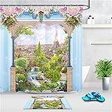 gwregdfbcv Hermosa mansión Fondo Azul Verde Hermosa Planta Flor Rosa Flor de Agua Blanca Baño Ducha Cortina Tela Durable Moho Accesorios de baño Cinturón Creativo 12 Ganchos 180X180 CM