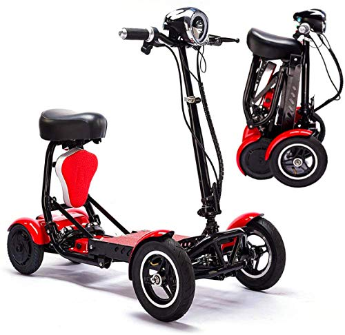 Mobility Aid Wheel Chair Electric Foldable Mobility Scooter,Lightweight Folding Power Wheelchair Handicap Scooter Drive Medical Scout Spitfire 4 Wheel Portable Travel Motor Scooters for Adults Seniors