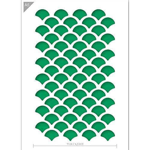 QBIX Schuppen Schablone - Fischschuppen Schablone - Muster Schablone - A5 Größe - Wiederverwendbare Kinder freundlich DIY Schablone für Malerei, Backen, Handwerk, Wand, Möbel