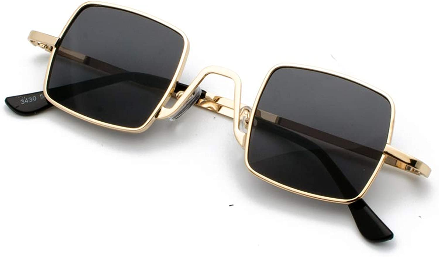 AAMOUSE Sunglasses Square Sunglasses Retro Style for Women red gold Small Black, Sunglasses for Men Metal, Clear Lens, Medium Frame