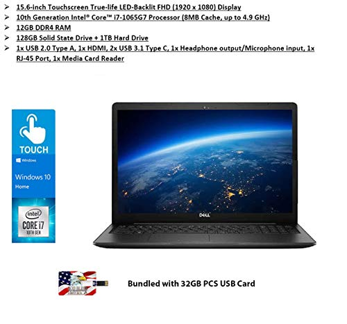 2020 Dell Inspiron 15 3593 15.6'' Full HD Touchscreen Laptop Intel Quad Core i7-1065G7 12GB DDR4 RAM 128GB SSD+1TB HDD Wireless-AC HDMI Bluetooth Webcam MaxxAudio Windows 10| 32GB PCS USB Card