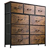 WLIVE 9-Drawer Dresser, Fabric Storage Tower for Bedroom, Nursery, Entryway, Closets, Tall Chest Organizer Unit with Textured Print Fabric Bins, Steel Frame, Wood Top, Easy Pull Handle, Rustic Brown
