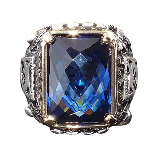 Goddesslili Vintage Natural Hollow Blue Geometric Square Cut Engagement Ring, Fashion Trend Zircon Men's Domineering Wedding Engagement Rings