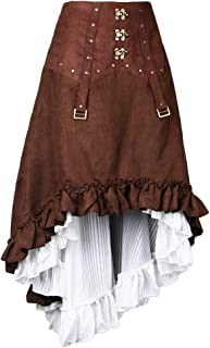 IPOTCH スカート レディース ワンピース スチームパンク レトロ ドレス アシンメトリー 仮装 海賊の衣装 全3サイズ - L